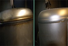 Stainless steel welding cleaned with Microblast