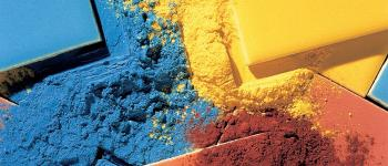 Large palette of colored pigments